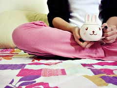 morning coffee ( Minnie | Photography ) Tags: morning pink cute rabbit me cup coffee smile bed sitting girly relaxing feeling aasia mywinners flickraward rubyphotographer artisawoman