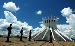 The symbol of Braslia (Xavier Donat) Tags: brazil sky church latinamerica southamerica niemeyer braslia brasil architecture clouds arquitectura cathedral statues igreja blogged brasilia catedraldebraslia esplanadadosministrios capitaldobrasil planeteyecom