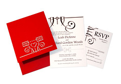 Wedding Invitations - Portfolio Picture (Futuregirl_LeahRiley) Tags: wedding red black ink silver computer print design robot diy printer handmade craft screen robots gocco printmaking invites invitations rsvp designed weddinginvitation crafter papersource goccoprinter