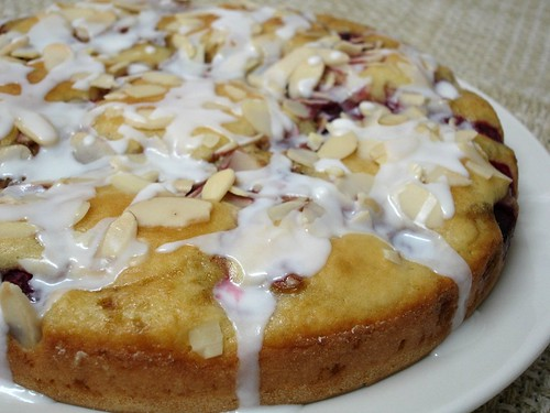 Raspberry cake with almond icing