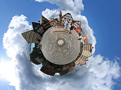 Hessenplanet (Man) Tags: famille blue sky panorama sun house clouds germany village frankfurt 360 full explore handheld 360x180 spherical planetoid plazza hugin enblend hessenpark i500 littleplanet planetoids