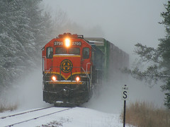 A blast of winter (railtalk) Tags: santa railroad winter lake snow minnesota burlington train christopher railway local fe northern blizzard cass bnsf muller 2795