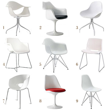 white molded chair guide