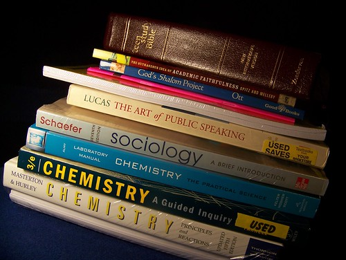 A stack of college textbooks