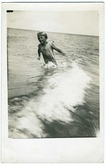 Snapshot: Prewar Germany---Young Girl Happy In The Surf (mrwaterslide) Tags: old beach vintage germany relax found coast play antique balticsea baltic german northsea oldphoto vernacular avoid deny repress