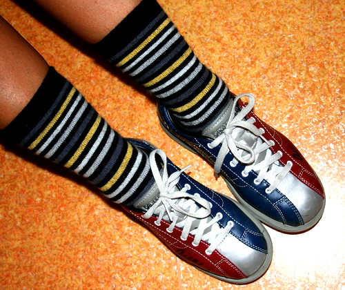 blue red white socks silver gold stripes rental metalic bowlingshoes