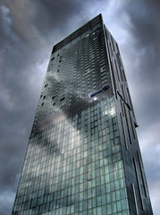 Beetham tower HDR (Lee251073) Tags: pictures blue windows reflection building tower clouds canon manchester hotel is photos hilton ps lancashire ixus photographs lee tall 700 800 hdr compact deansgate beetham sd700is ixus800is lee251073 251073