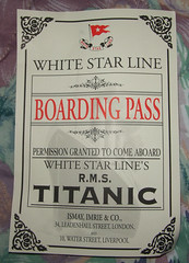 Boarding pass of Titanic given during titanic exhibition