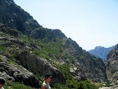 Arête N de Punta di Campu Razzinu: plate-forme de départ de la vire de Scaffone