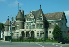 Historic 8th Precinct Building in Detroit - built 1901 (DetroitDerek Photography ( ALL RIGHTS RESERVED )) Tags: summer urban favorite usa house building tower castle beautiful beauty station stone architecture youth office cool midwest downtown arch michigan unique postcard great gray detroit gang police 8 style grand historic explore jail 12 elegant highlandpark grandriver romanesque woodbridge 2007 classy precinct 313 damncool pritzker motown motorcity kamper exemplary detroitpolice gangsquad