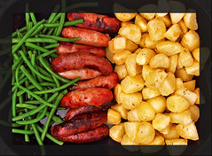 sausages beans and chips (VROG in Bristol) Tags: uk england food bristol beans unitedkingdom chips sausages foodphotography vrog wixizinterestingnesscontest 4starfridgeandgourmetdinner eatpictures