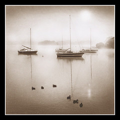 Morning Calm (adrians_art) Tags: dawn sunrise mist fog weather water lakes windermere boats reflections sepia light grain mono monochrome bw goldenphotographer shadows ducks cumbria england film ilford 400asa blackandwhite holidaysvacanzeurlaub dark bravo anawesomeshot searchthebest supershot excapture theperfectphotogapher aplusphoto superaplus megashot monochromia favemegroup6 magicdonkey theroadtoheaven picswithframes geotags geotagged