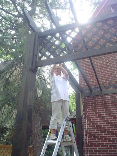 Mom lifting roof slat