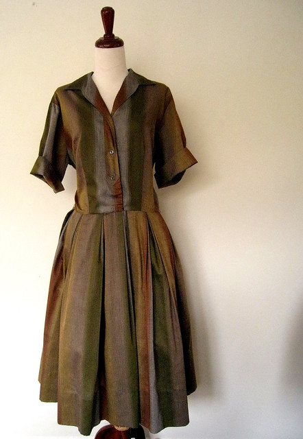 Autumn Stripe Dress, vintage 1950's
