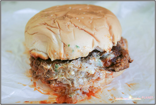 Wingman Burger with Buffalo Sauce with fries (P230)