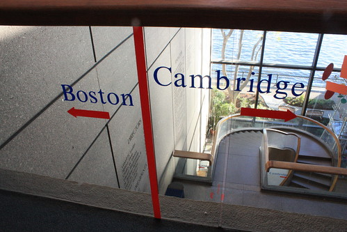 You can stand with foot in Boston and the other in Cambridge.