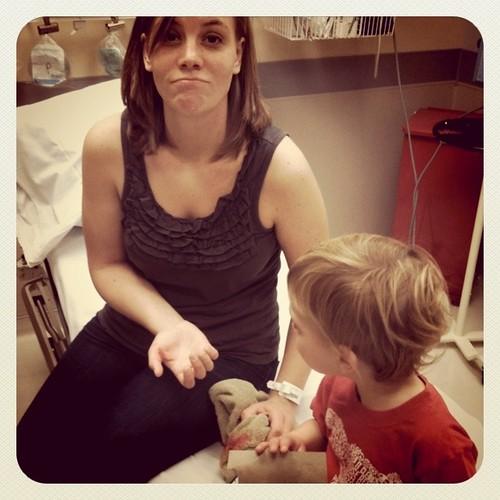 Jodi got stitches
