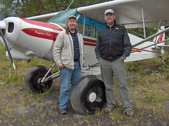 Charlie and Mark visiting Mark's Super Cub