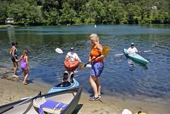 Judy supervising the landing of Michael and Roger (ct_kayak) Tags: kayak acm kleinert waramaug liquori pietrobono