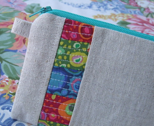 linen and patchwork zipper pouch