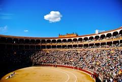 Madrid Bullfighting stadium (j.hietter) Tags: madrid plaza travel color architecture landscape spain nikon europe flickr stadium vivid bull website bullfight bullfighting d80 18135mm