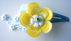 Blue and Yellow Vintage Flowers Barrette