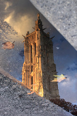 Paris, Tour Saint Jacques (Calinore) Tags: street city paris france reflection tower water puddle eau tour deadleaves reflet rue marais ville ruederivoli saintjacques flaque reflectionof feuillesmortes toursaintjacques hccity archivecture lacollection centevillehistorique selectionneespargetty