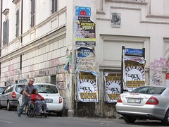ROM_041 : Space Invader in Roma (tofz4u) Tags: auto street people streetart rome roma pasteup car collage poster tile italia mosaic wheelchair spaceinvader spaceinvaders voiture billboard invader rue italie bagnole affiche passant mosaque artderue fauteuilroulant rom041