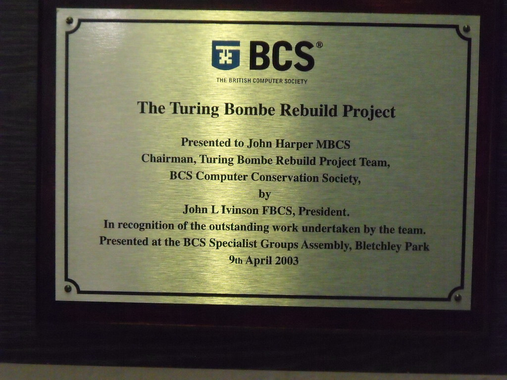 Photo of Alan Mathison Turing brass plaque