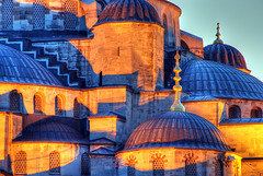 Blue Mosque, detail (Timothy Neesam (GumshoePhotos)) Tags: blue detail architecture turkey islam trkiye istanbul mosque turquie timothy istambul hdr bleue mosque neesam photomatix
