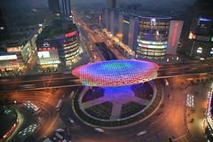 Big Egg (fernlicht) Tags: china lighting highway artist shanghai led coloredlights chenyifei bigegg 5roadscrossing