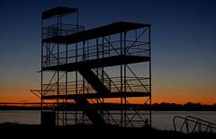 Start - Finish Line (johny~) Tags: park sunset night race start canon river twilight scaffolding dusk columbia course finish scaffold finishline 2007 30d kennewick startingline sillouhette ef1855mmf3556 flickrchallengegroup johny~