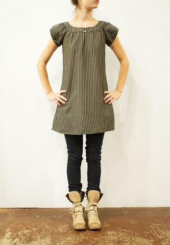 Steven Alan Grey with Yellow Stripe Silk Dress, Deener skinny leg jeans, Y's boots