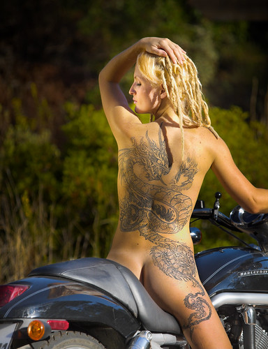 Sexy Tattoo Art With Blonde Girls and Big Motor