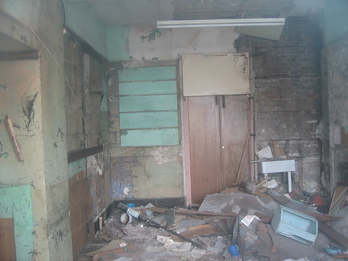 destroyed chemist shop interior