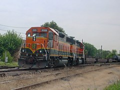 Northbound BNSF Railway transfer train entering the IHB Argo Yard. Summit Illinois USA. June 2007.