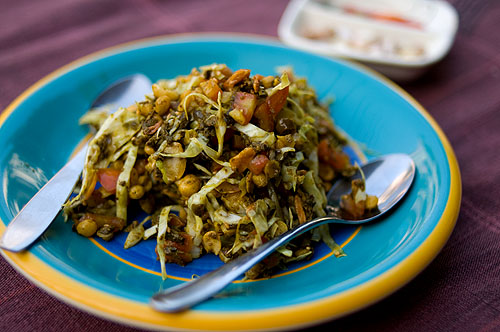 Lephet thoke, Burmese tea leaf salad, at a restaurant in Mae Sot, Tak