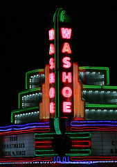 Washoe Portrait (BigSkyKatie) Tags: show pink blue portrait white green art colors sign night movie marquee lights colorful neon restored historical restoration artdeco deco washoe lighted marque usnationalregisterofhistoricplaces theperfectphotographer katielasallelowery washoetheater