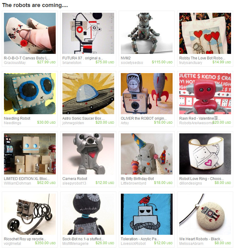 Robot treasury on Etsy