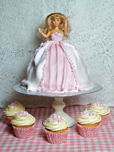 Barbie Dress Cake and Cupcakes
