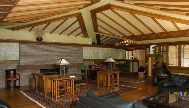 Living room inside Frank Lloyd Wright's Coonley House