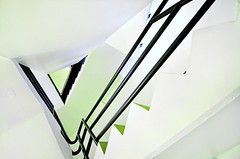 up stairs (IHP) Tags: white abstract green up museum wisconsin architecture kids stairs children concrete hand looking geometry rail diagonal madison staircase handrail height madison365