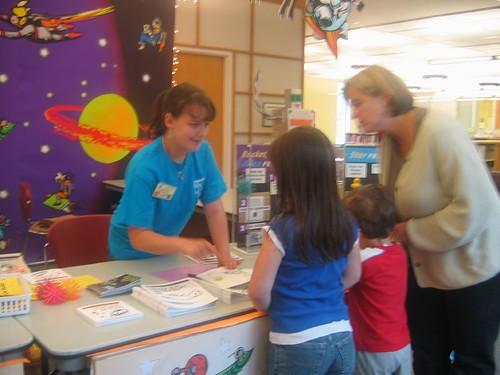 Tess Volunteering at Library