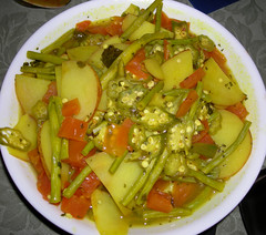 Curry (ca_ly_be) Tags: green tomato pepper vegan beans long cayenne potato vegetarian okra coriander turmeric cilantro lemonjuice mustardseeds veggiebroth