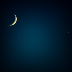 Crescent moon (and venus) (s0ulsurfing) Tags: blue moon beautiful night wow stars star evening amazing cool fantastic bravo sundown dusk gorgeous acid ps minimal crescent moonlight exquisite minimalism simple vignette minimalist lookingback 2007 crescentmoon simplistic blueribbonwinner instantfave s0ulsurfing abigfave 30faves30comments300views anawesomeshot isawyoufirst superbmasterpiece goldenphotographer diamondclassphotographer