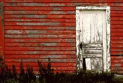 (Sick Little Monkey) Tags: door red house canada barn grit peeling paint decay saskatchewan shite