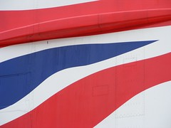 Fly the flag (Union Flag - UK) (mre1965) Tags: blue red white london heathrow flag concorde ba britishairways tailfin supersonic