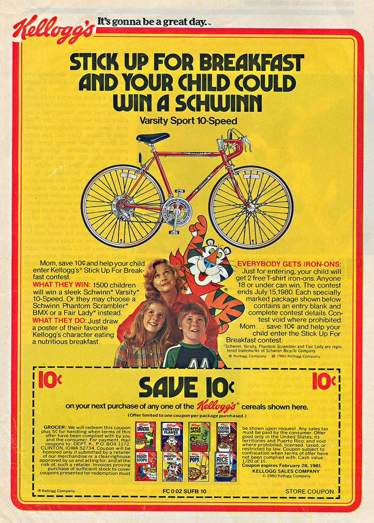 "Kellogg's ""STICK UP FOR BREAKFAST AND YOUR CHILD COULD WIN A SCHWINN"" //SAVE 10¢ ((1980))"