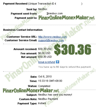 Neobux Payment Proof $30.36 on October 6, 2010 - PinayOnlineMoneyMaker.net