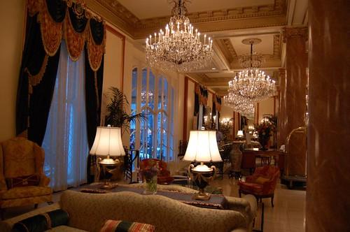 The lobby of Le Pavillon Hotel